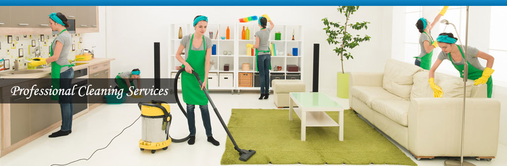 professional cleaner at work cleaning a domestic home